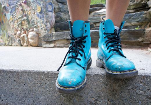 Kristin's blue boots
